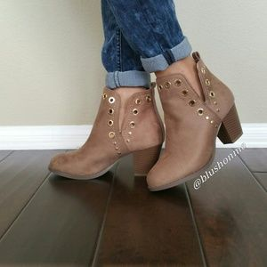Shoes - Grommet Booties - Taupe